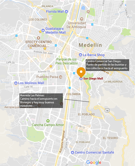 Screenshot of the location of the San Diego Mall on Google Maps. The San Diego shopping center is the departure point to the airport in Ríonegro.