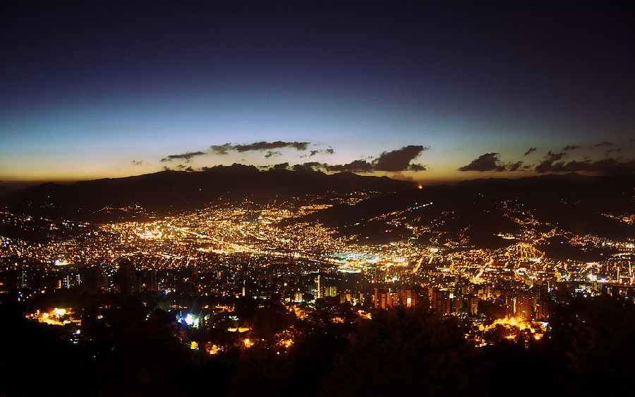 View of the mountains of Medellin at night with all the lights of the city from the Las Palmas lookout.