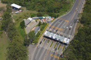 Drone view of the highway troll to go from the center of Medellin to the airport on the Las Palmas route