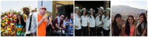 group of pictures of people spending time with paisas and visiting cultural places in Medellin