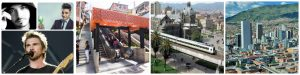 Pictures of what makes Medellin a great city like reggeaton singers, the beautiful landscape and the metro.