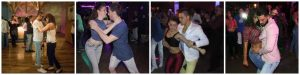 Men dancing salsa and reggeaton with paisa girls in a club in Medellin