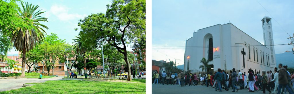 2 pictures of a park and a church in Belén Medellín, a local and relax neighborhood