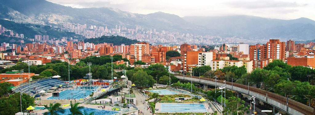 aerial view of the Anastasio Girardot Estadio in Medellín Laureles. One of the best neighborhoods of Medellín to live in